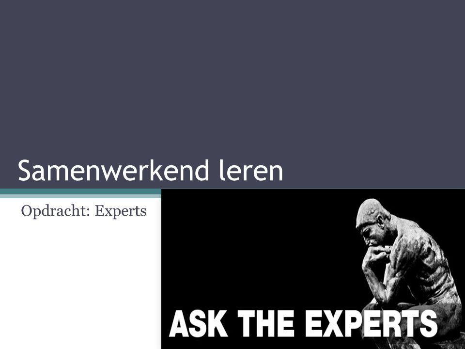 Samenwerkend leren Opdracht: Experts