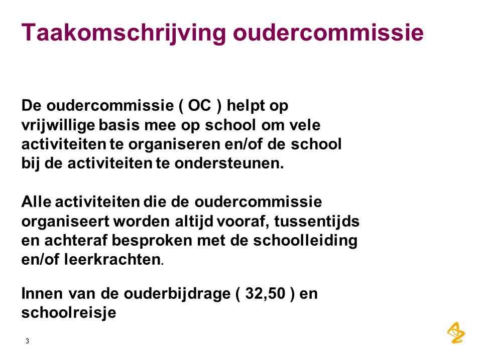 Taakomschrijving oudercommissie
