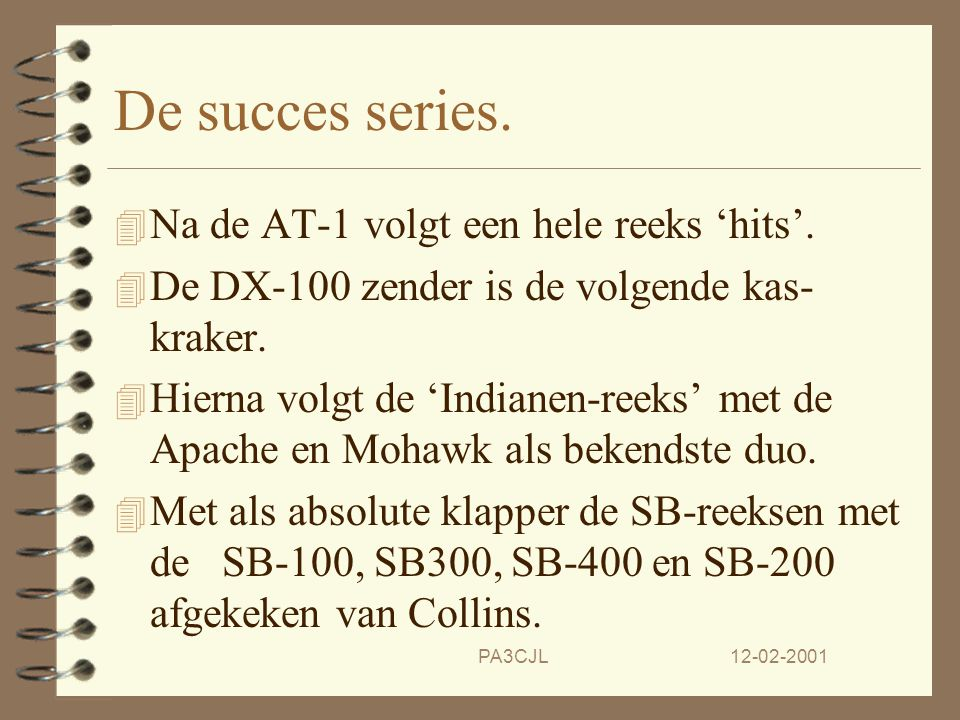 De succes series. Na de AT-1 volgt een hele reeks 'hits'.