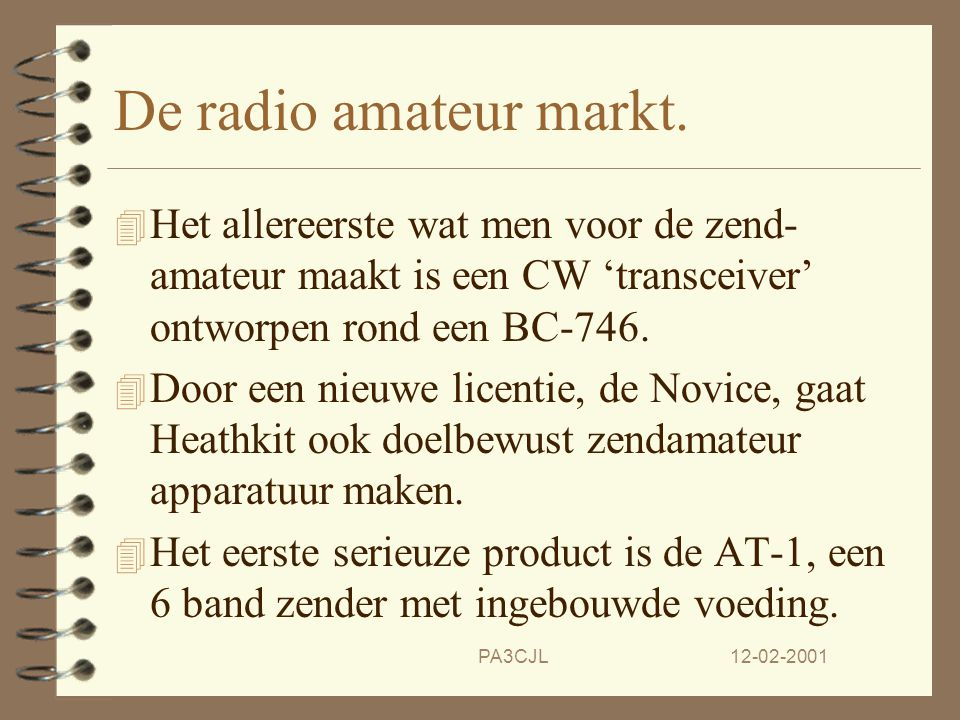 De radio amateur markt. Het allereerste wat men voor de zend-amateur maakt is een CW 'transceiver' ontworpen rond een BC-746.