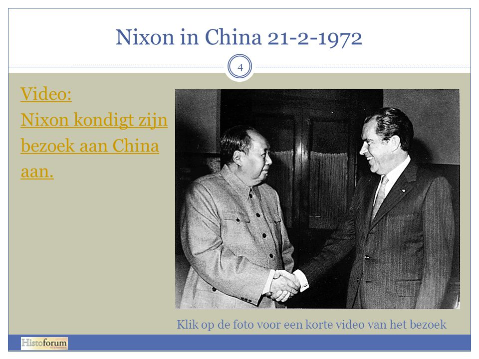 Nixon in China 21-2-1972 Video: Nixon kondigt zijn bezoek aan China aan.