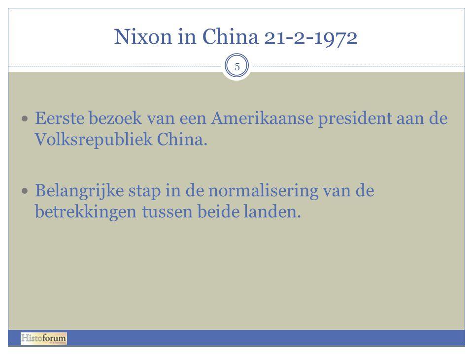 Nixon in China 21-2-1972 Eerste bezoek van een Amerikaanse president aan de Volksrepubliek China.