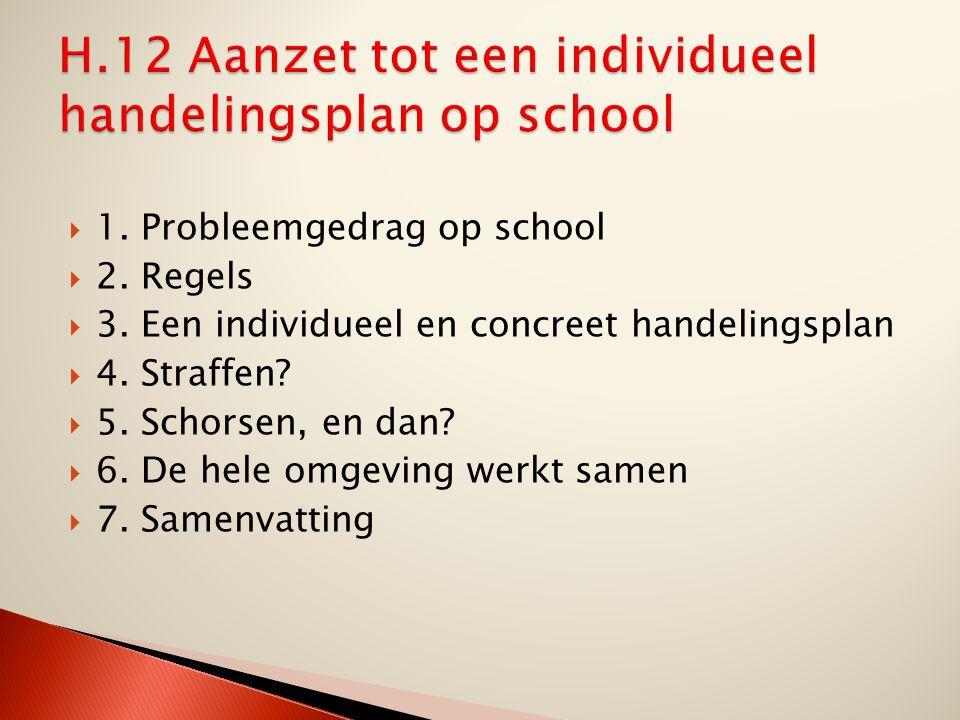 H.12 Aanzet tot een individueel handelingsplan op school