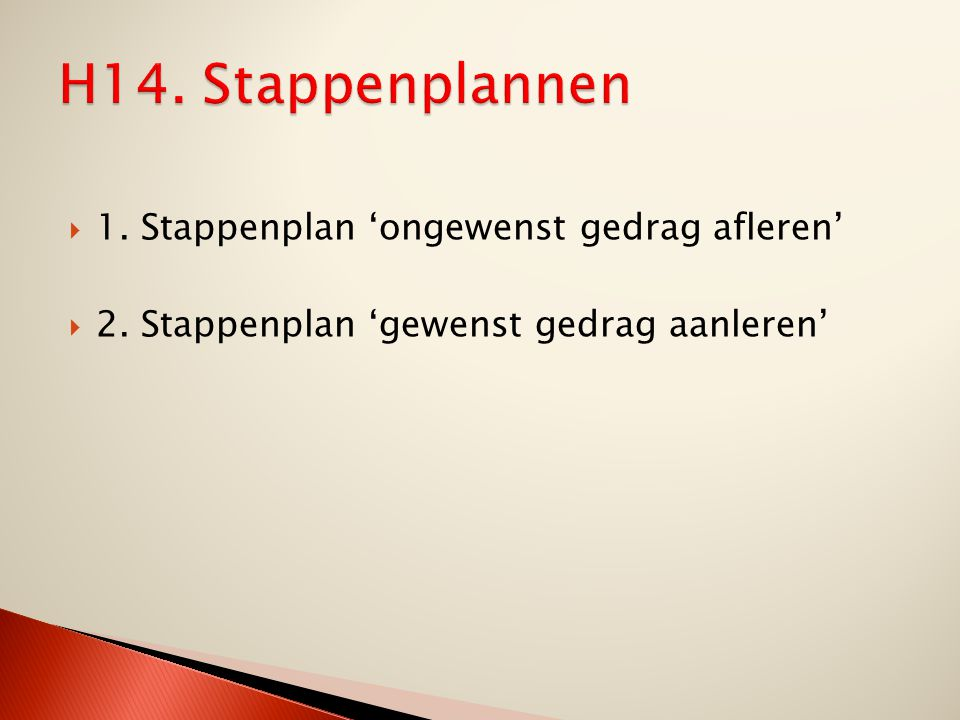 H14. Stappenplannen 1. Stappenplan 'ongewenst gedrag afleren'