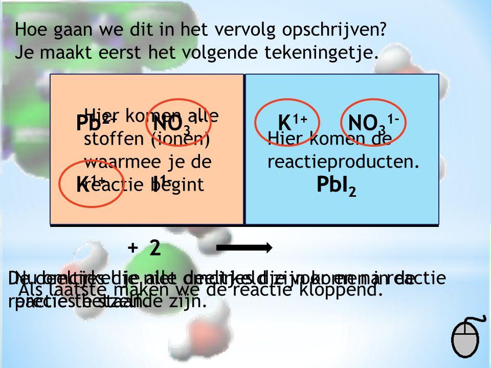 Pb2+ Pb2+ NO31- K1+ NO31- K1+ I1- I1- PbI2 PbI2 + 2