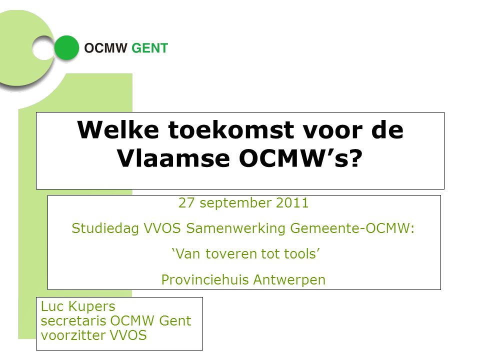 Welke toekomst voor de Vlaamse OCMW's
