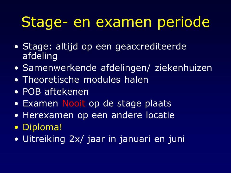Stage- en examen periode
