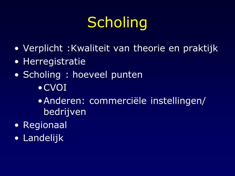 Scholing Verplicht :Kwaliteit van theorie en praktijk Herregistratie