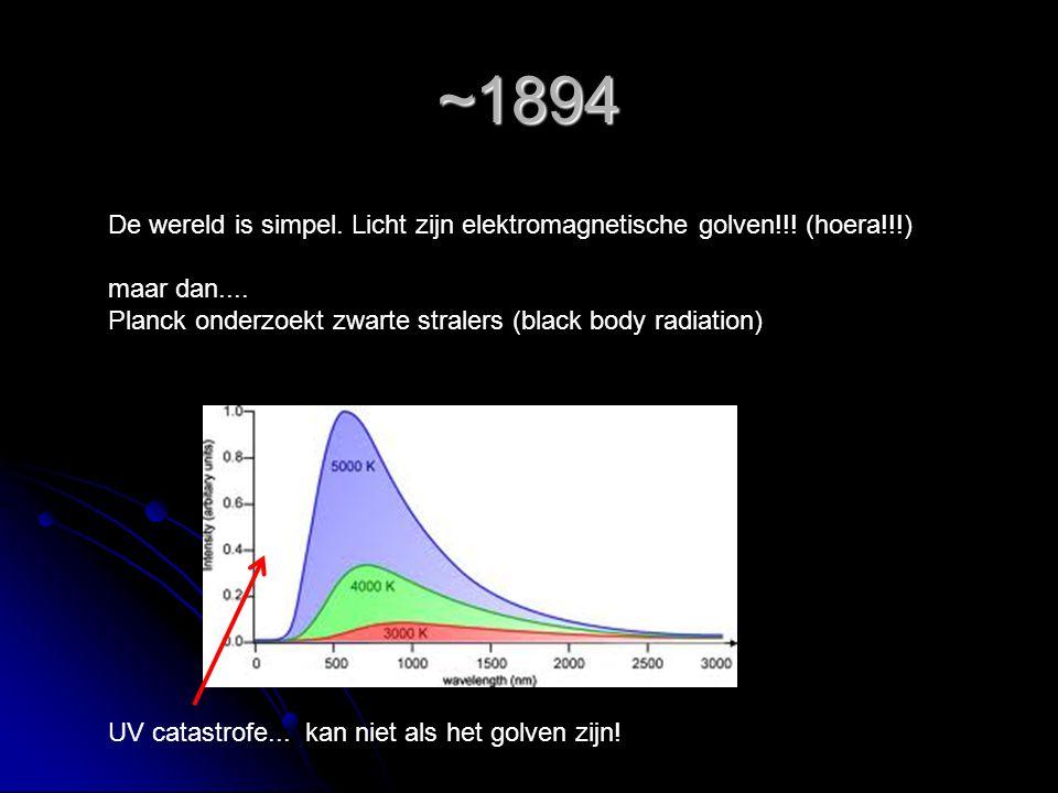~1894 De wereld is simpel. Licht zijn elektromagnetische golven!!! (hoera!!!) maar dan.... Planck onderzoekt zwarte stralers (black body radiation)