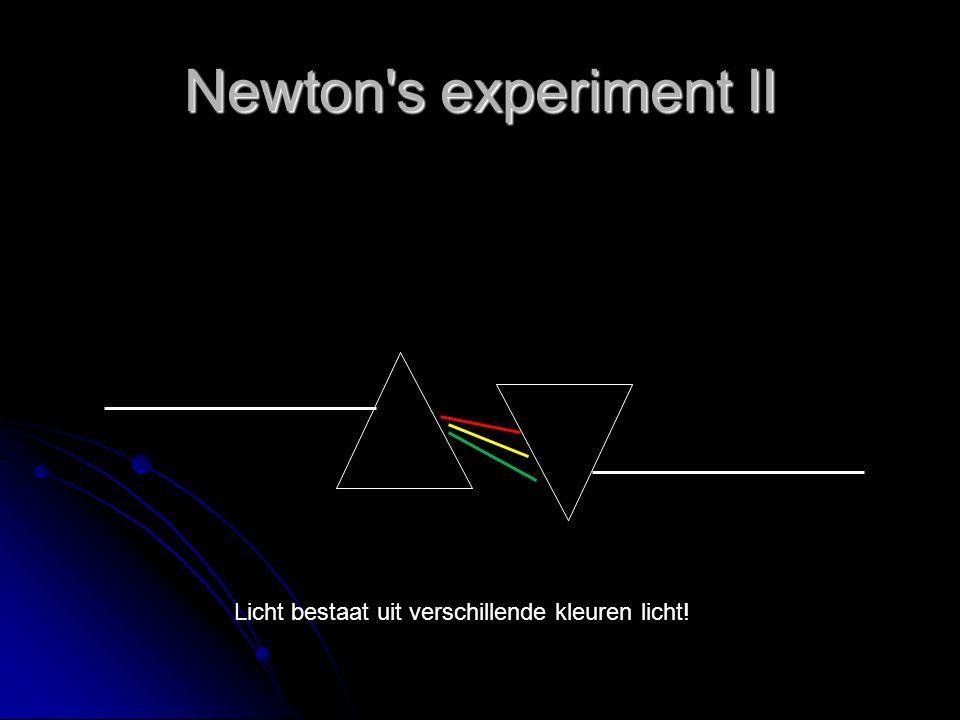 Newton s experiment II Licht bestaat uit verschillende kleuren licht!