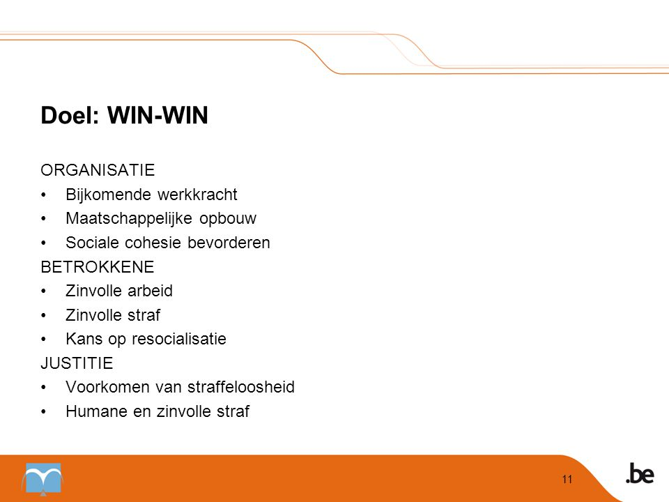 Doel: WIN-WIN ORGANISATIE Bijkomende werkkracht