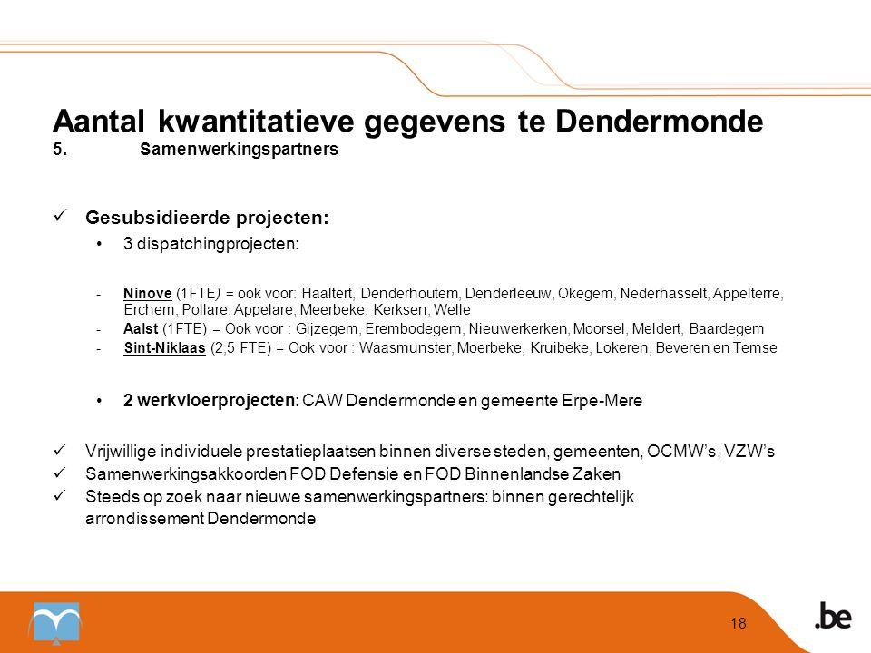 Aantal kwantitatieve gegevens te Dendermonde 5. Samenwerkingspartners