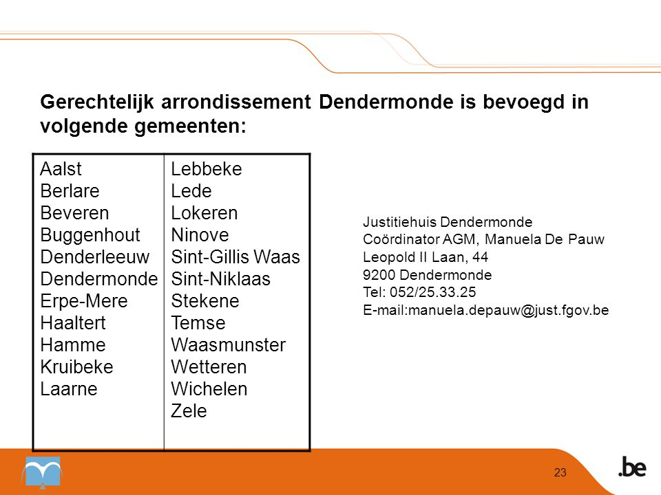 Gerechtelijk arrondissement Dendermonde is bevoegd in volgende gemeenten: