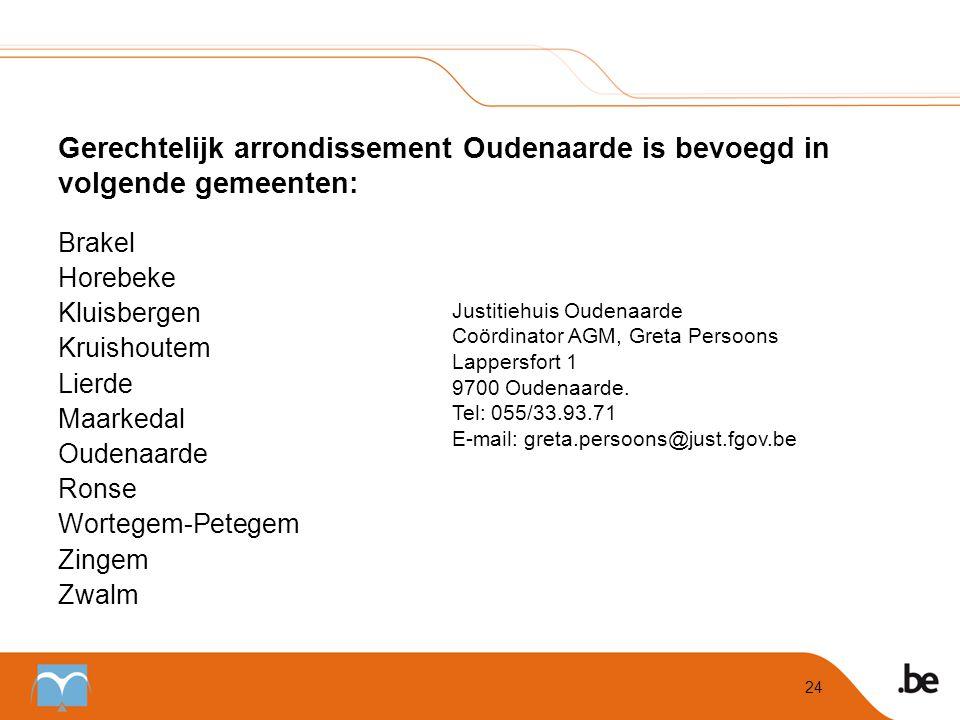 Gerechtelijk arrondissement Oudenaarde is bevoegd in volgende gemeenten:
