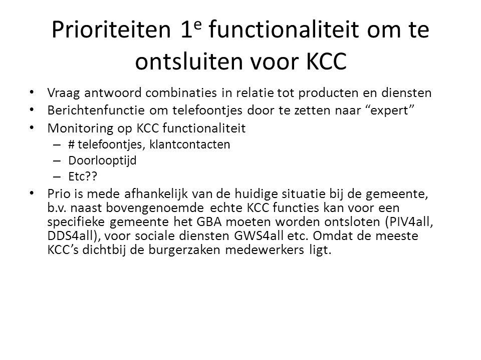 Prioriteiten 1e functionaliteit om te ontsluiten voor KCC