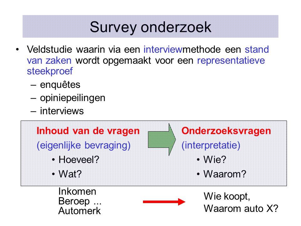 Survey onderzoek Veldstudie waarin via een interviewmethode een stand van zaken wordt opgemaakt voor een representatieve steekproef.