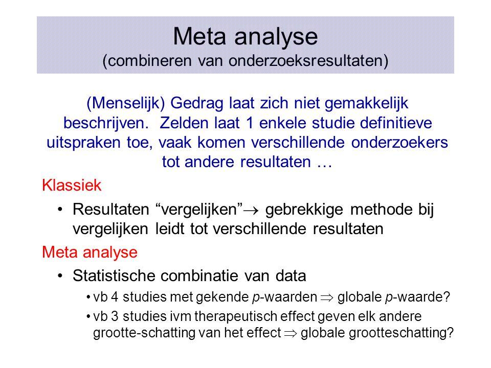 Meta analyse (combineren van onderzoeksresultaten)