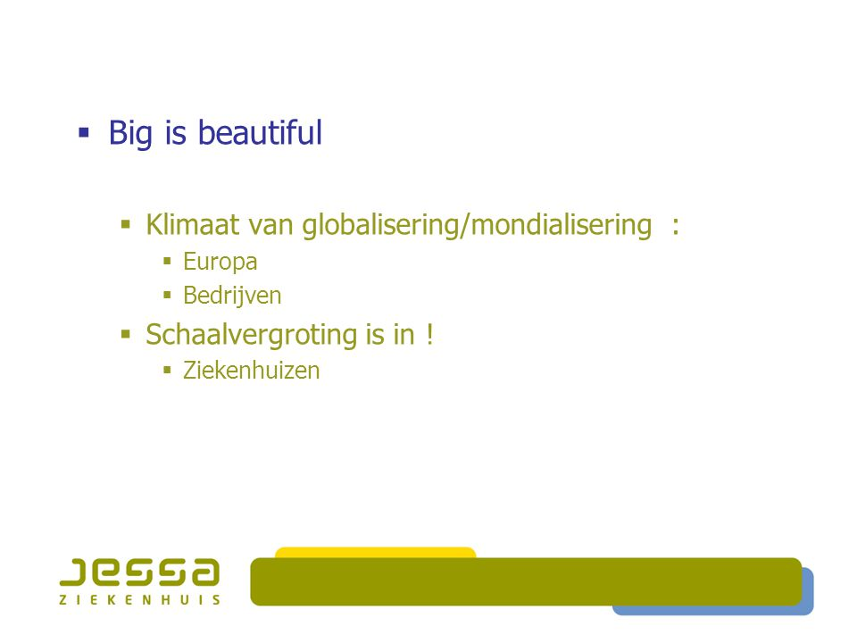 Big is beautiful Klimaat van globalisering/mondialisering :