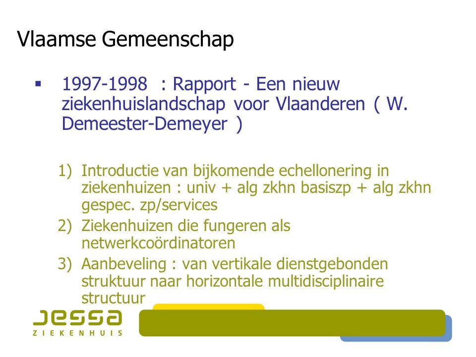 Vlaamse Gemeenschap 1997-1998 : Rapport - Een nieuw ziekenhuislandschap voor Vlaanderen ( W. Demeester-Demeyer )