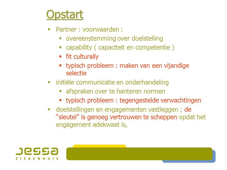 Opstart Partner : voorwaarden : overeenstemming over doelstelling
