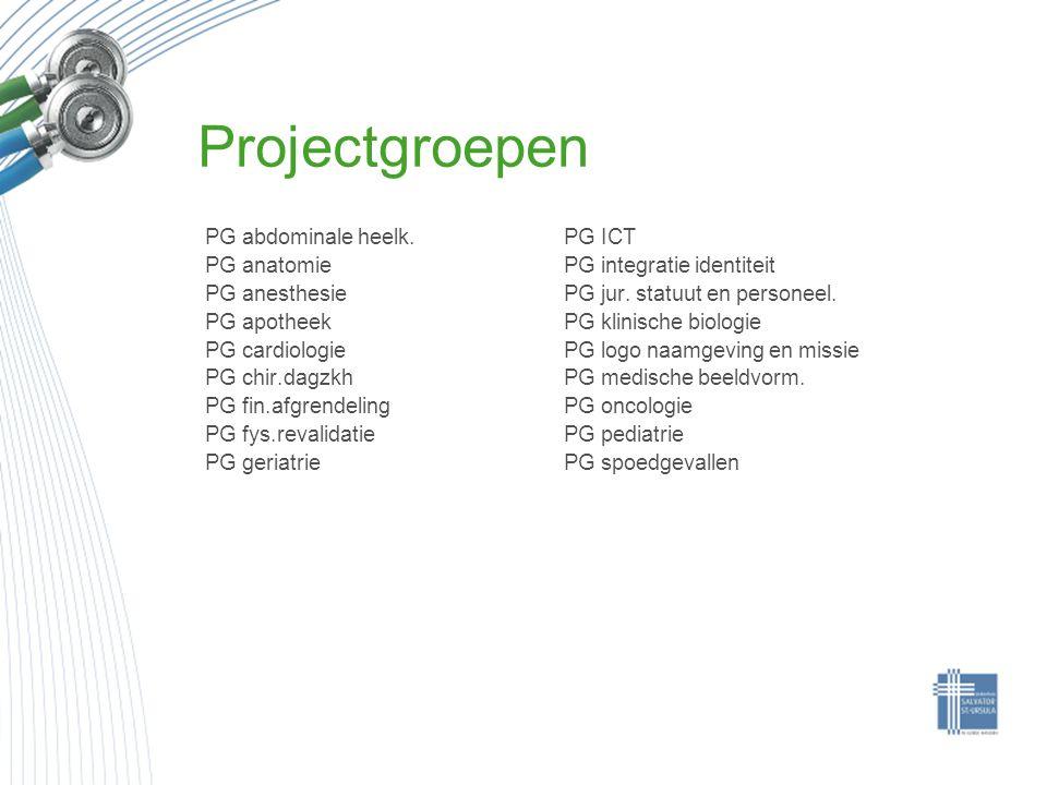 Projectgroepen PG abdominale heelk. PG anatomie PG anesthesie