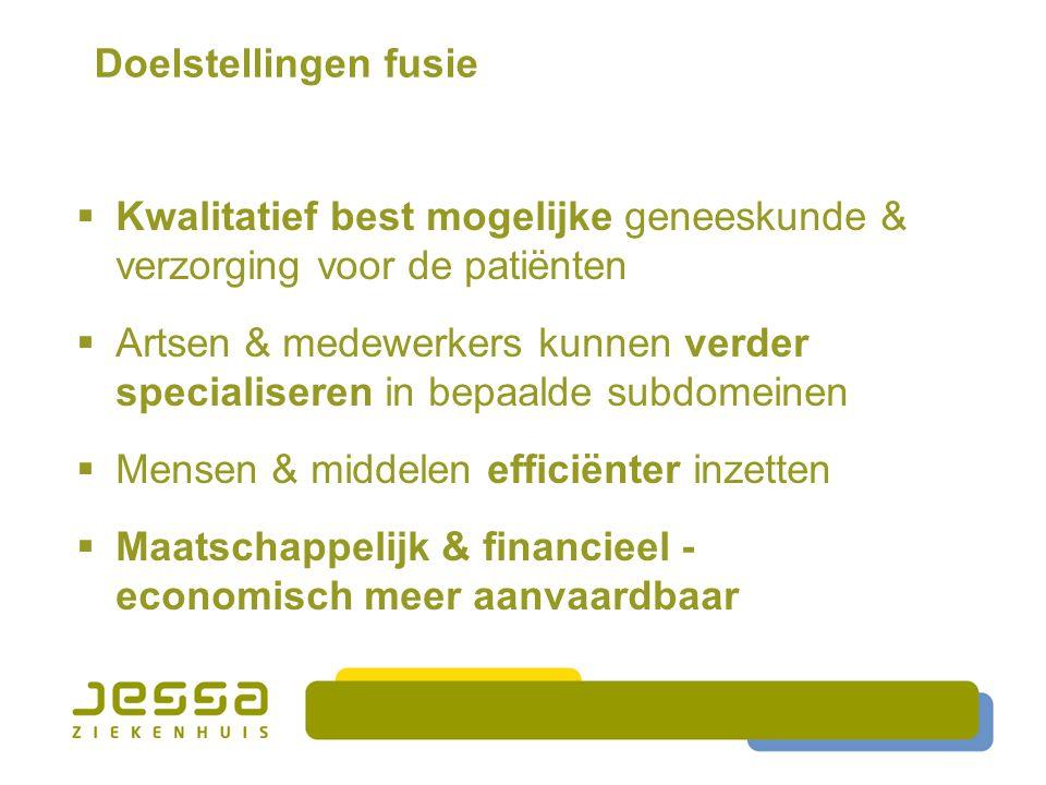 Doelstellingen fusie Kwalitatief best mogelijke geneeskunde & verzorging voor de patiënten.