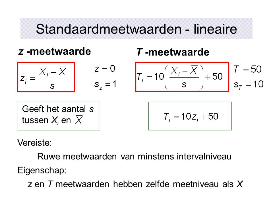 Standaardmeetwaarden - lineaire