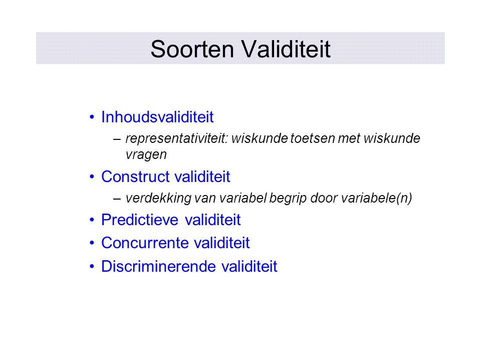 Soorten Validiteit Inhoudsvaliditeit Construct validiteit