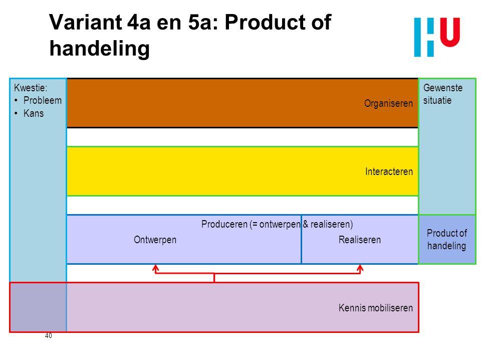Variant 4a en 5a: Product of handeling