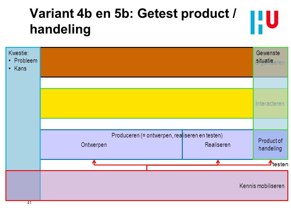 Variant 4b en 5b: Getest product / handeling