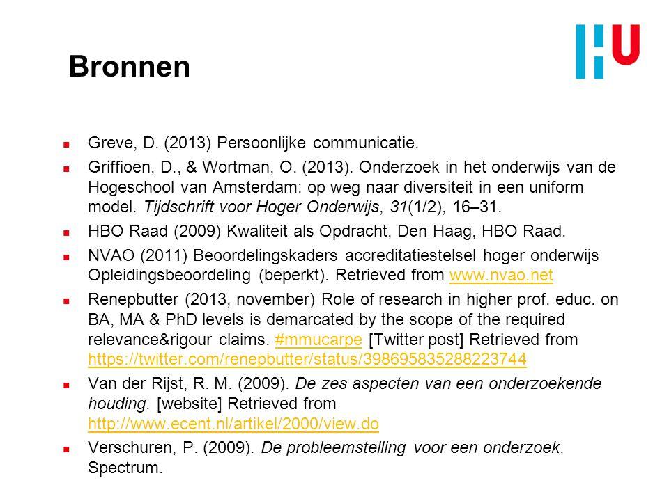 Bronnen Greve, D. (2013) Persoonlijke communicatie.