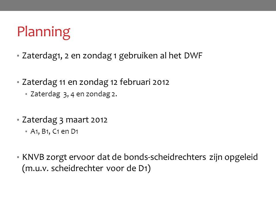 Planning Zaterdag1, 2 en zondag 1 gebruiken al het DWF
