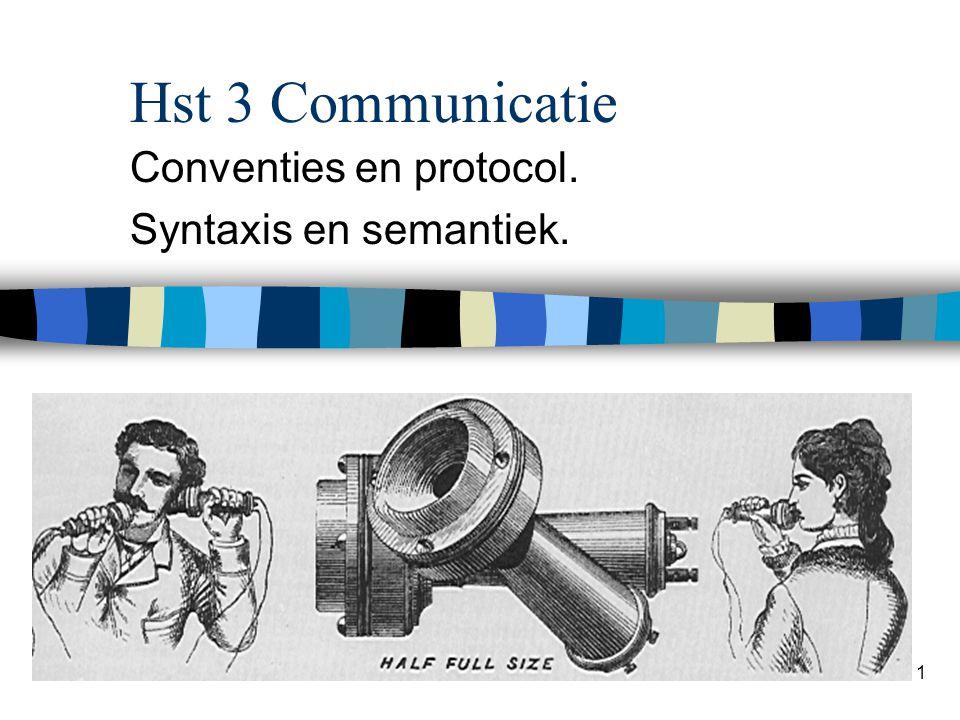 Conventies en protocol. Syntaxis en semantiek.