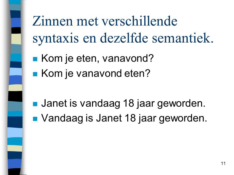 Zinnen met verschillende syntaxis en dezelfde semantiek.