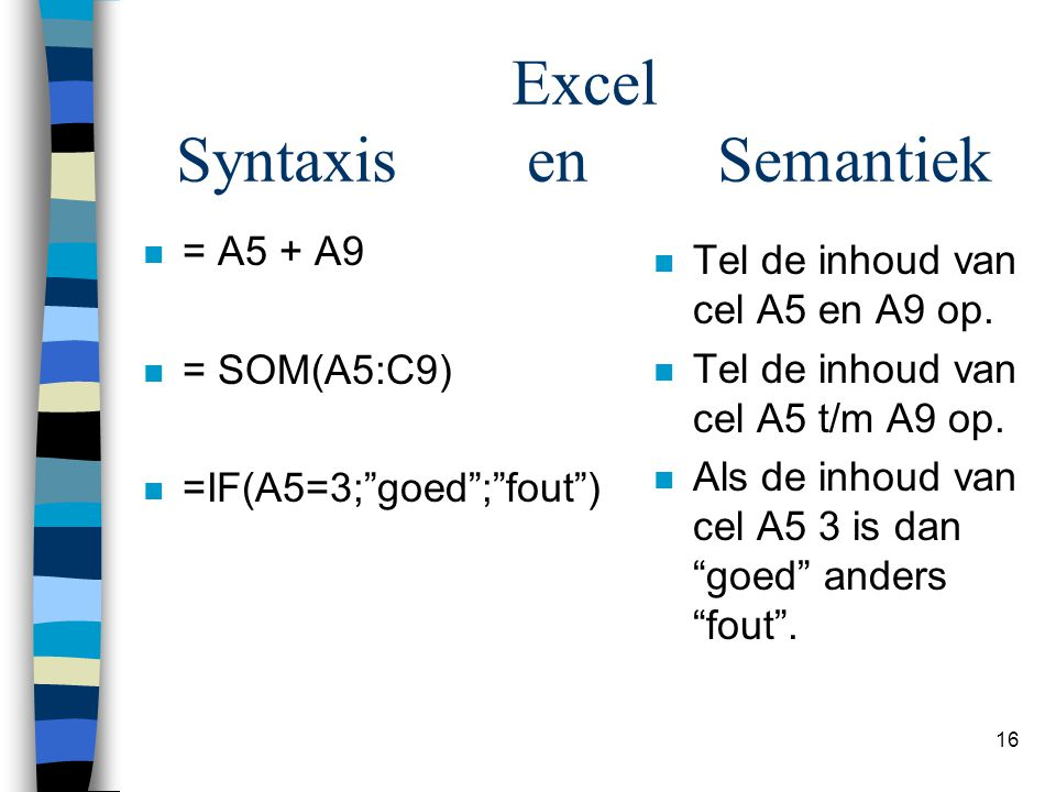 Excel Syntaxis en Semantiek