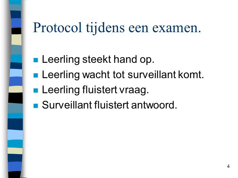 Protocol tijdens een examen.