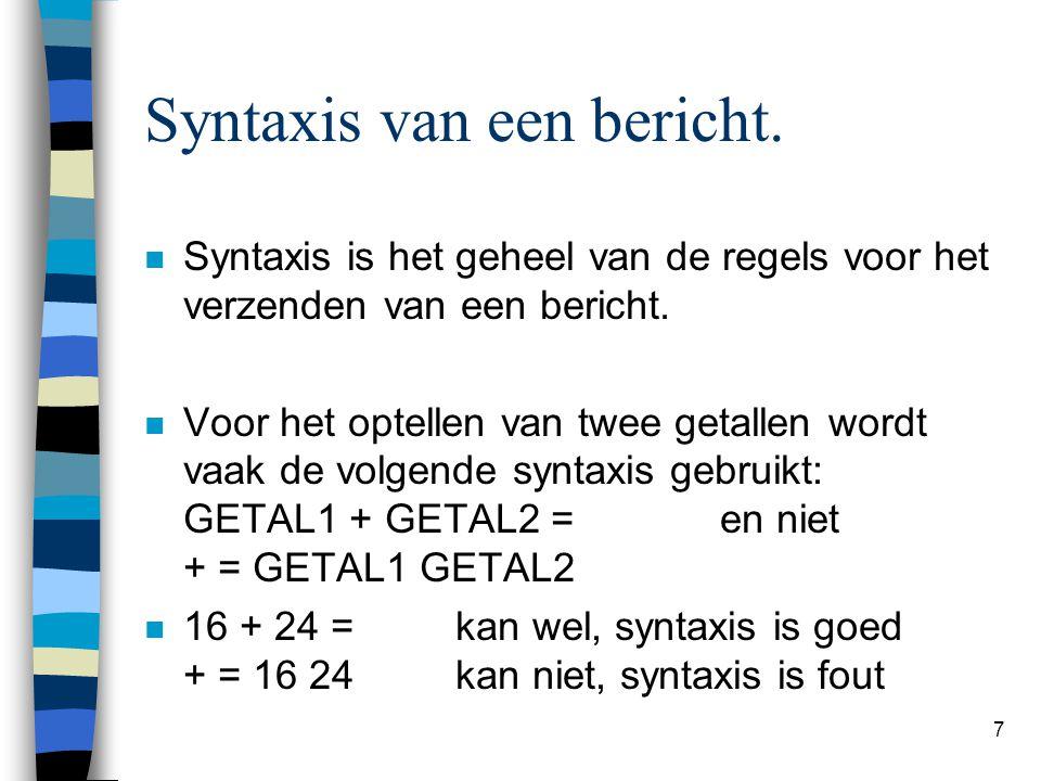 Syntaxis van een bericht.