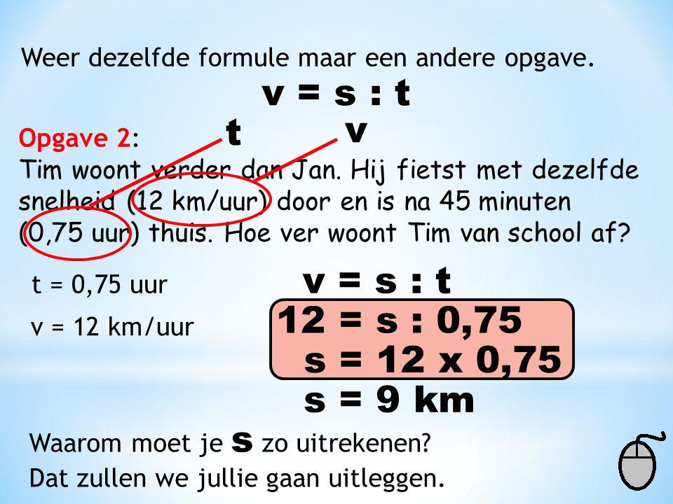 v = s : t v t v = s : t 12 = s : 0,75 s = 12 x 0,75 s = 9 km