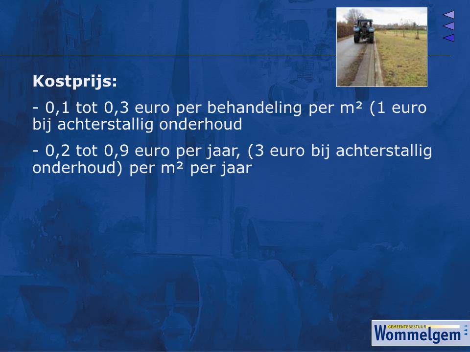 Kostprijs: - 0,1 tot 0,3 euro per behandeling per m² (1 euro bij achterstallig onderhoud.