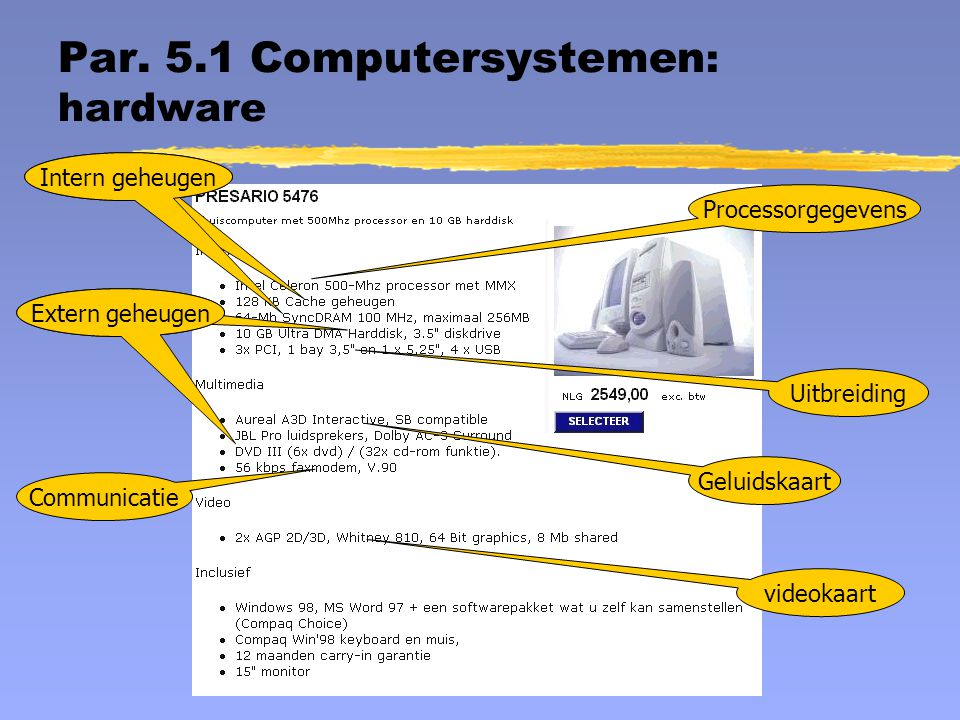 Par. 5.1 Computersystemen: hardware
