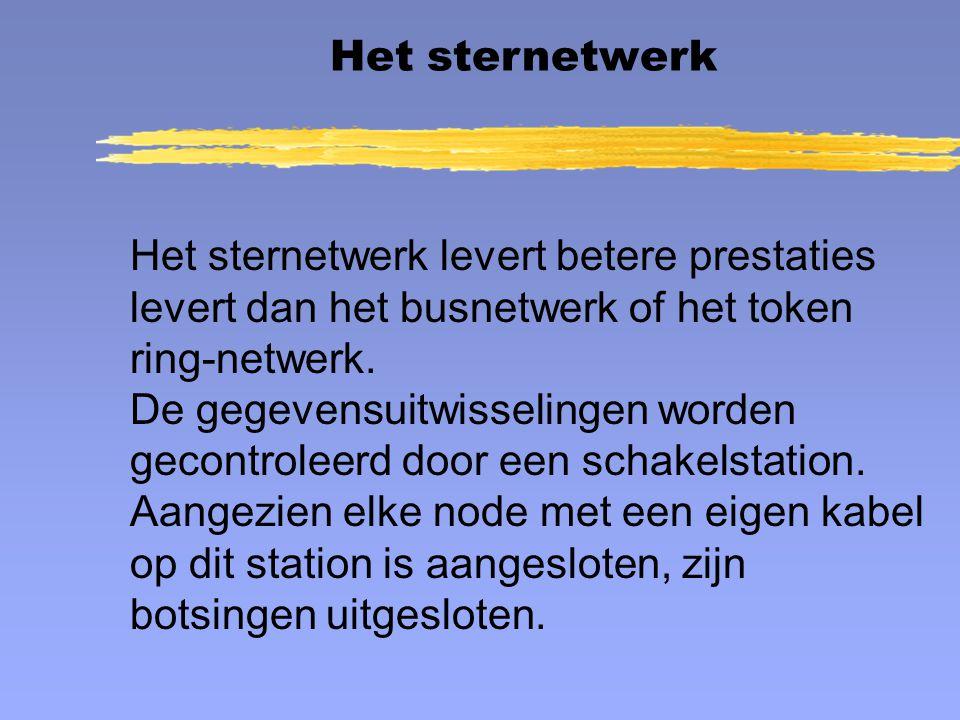 Het sternetwerk Het sternetwerk levert betere prestaties levert dan het busnetwerk of het token ring-netwerk.