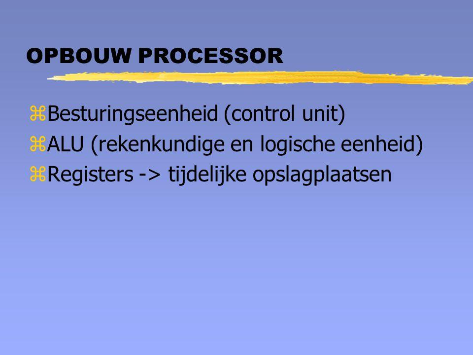 OPBOUW PROCESSOR Besturingseenheid (control unit) ALU (rekenkundige en logische eenheid) Registers -> tijdelijke opslagplaatsen.