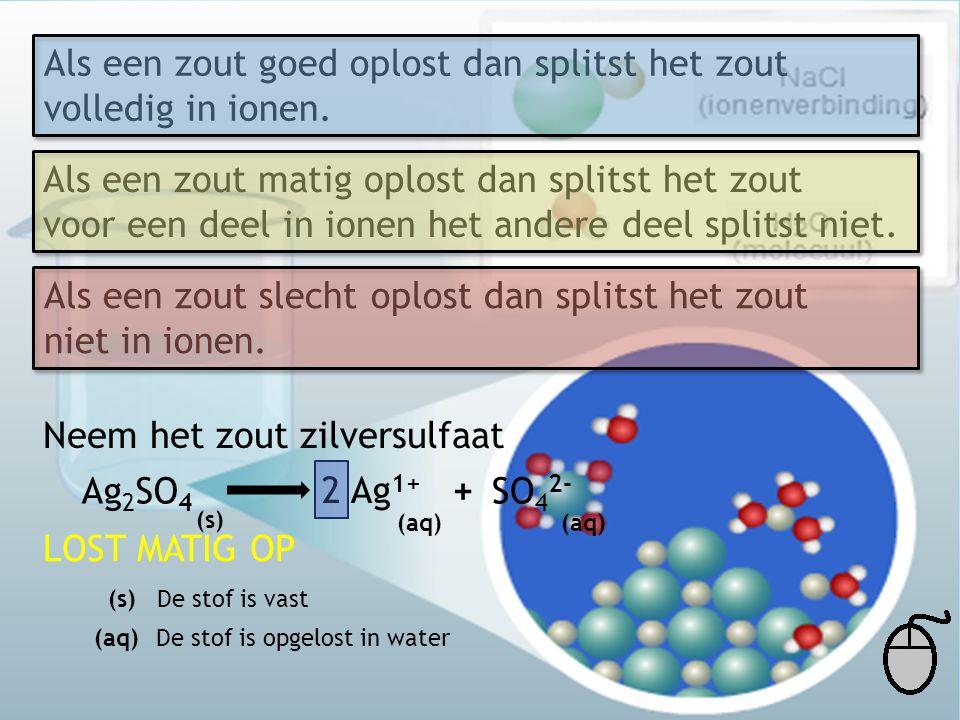 Als een zout goed oplost dan splitst het zout volledig in ionen.