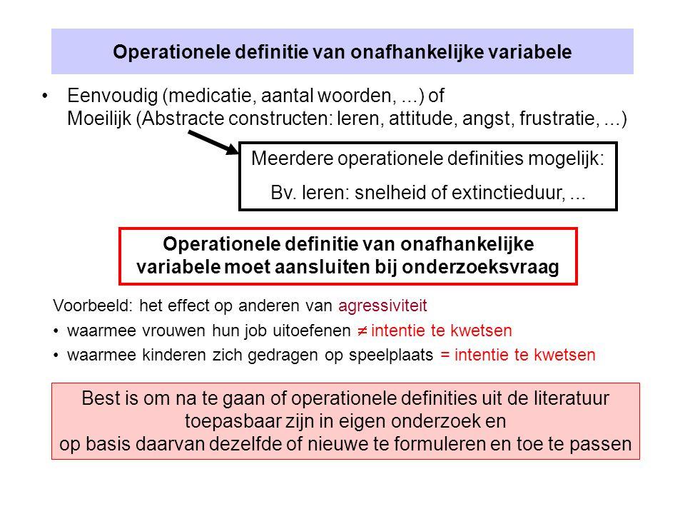 Operationele definitie van onafhankelijke variabele