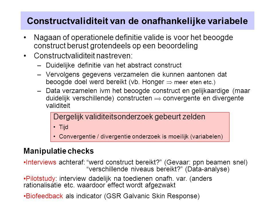 Constructvaliditeit van de onafhankelijke variabele