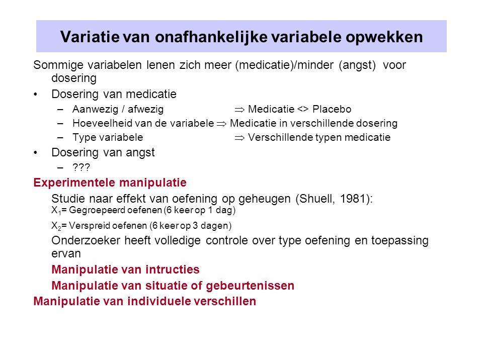 Variatie van onafhankelijke variabele opwekken