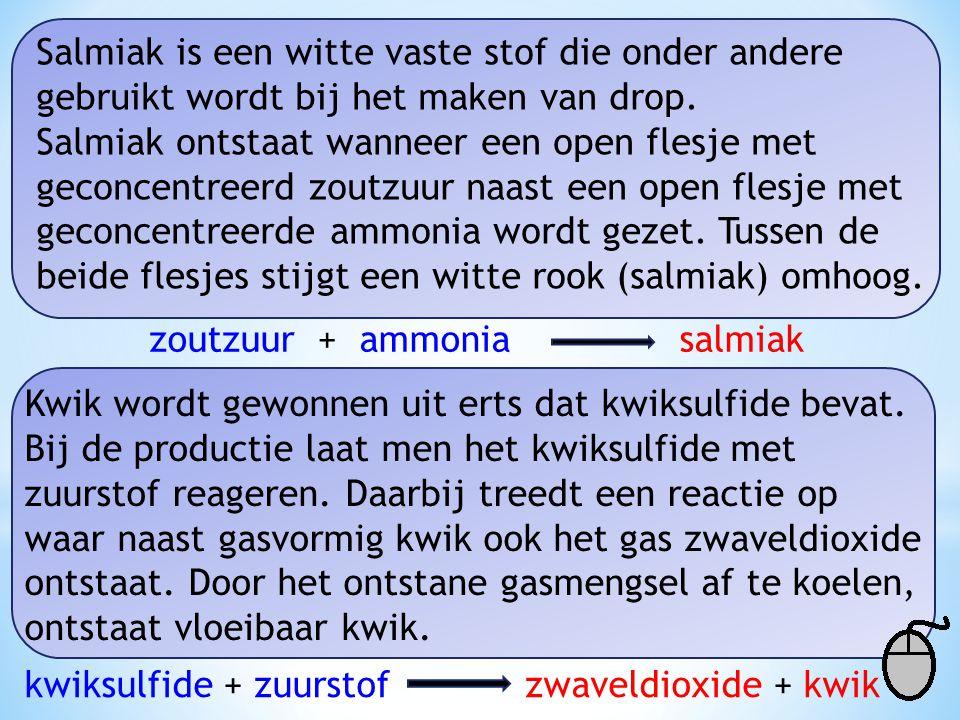 Salmiak is een witte vaste stof die onder andere gebruikt wordt bij het maken van drop.
