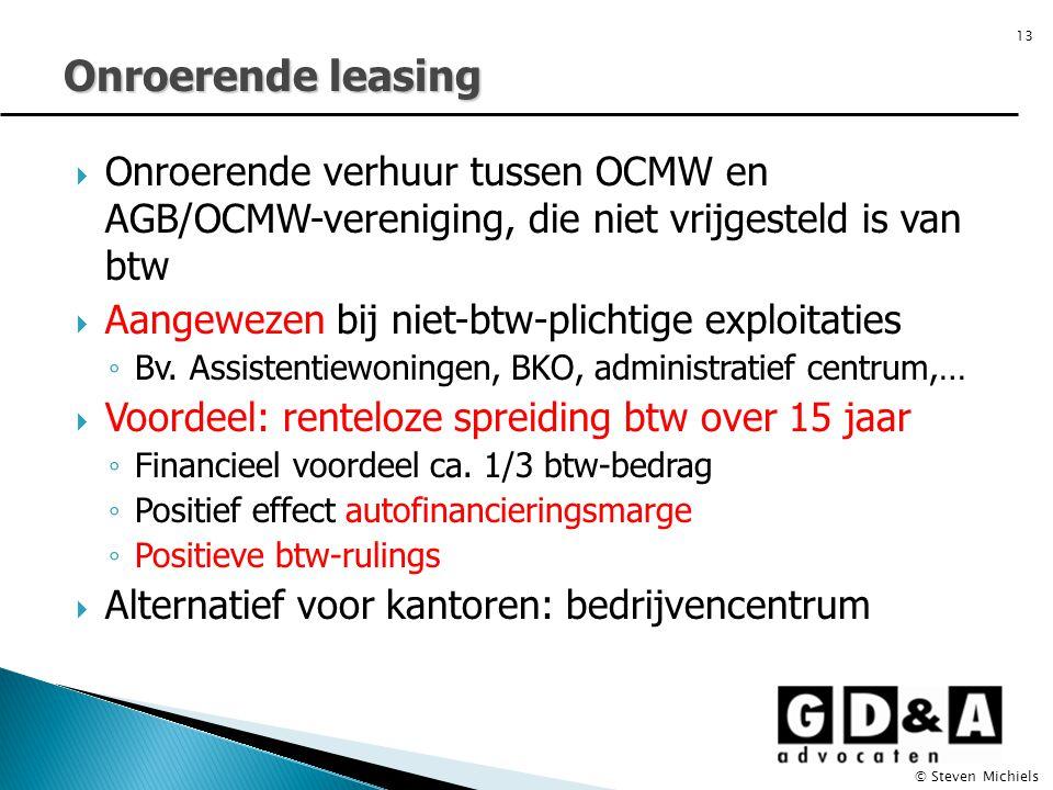 Onroerende leasing Onroerende verhuur tussen OCMW en AGB/OCMW-vereniging, die niet vrijgesteld is van btw.