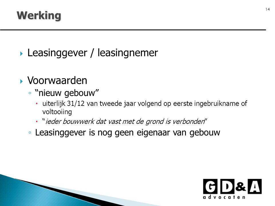 Werking Leasinggever / leasingnemer Voorwaarden nieuw gebouw