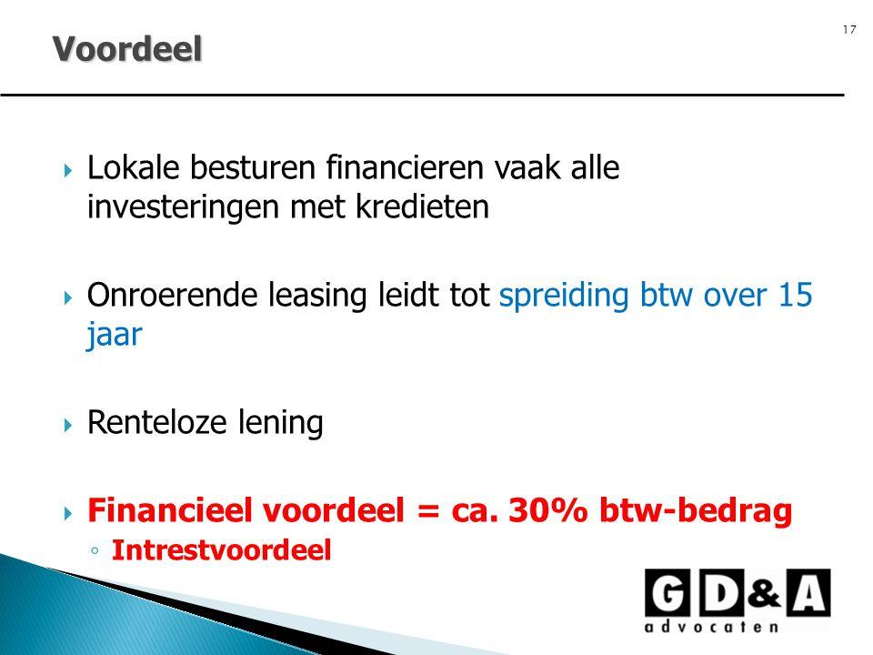 Voordeel Lokale besturen financieren vaak alle investeringen met kredieten. Onroerende leasing leidt tot spreiding btw over 15 jaar.